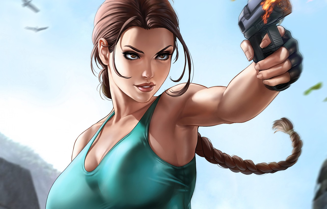 Photo wallpaper girl, Tomb Raider, girl, art, Lara Croft, by Dandonfuga