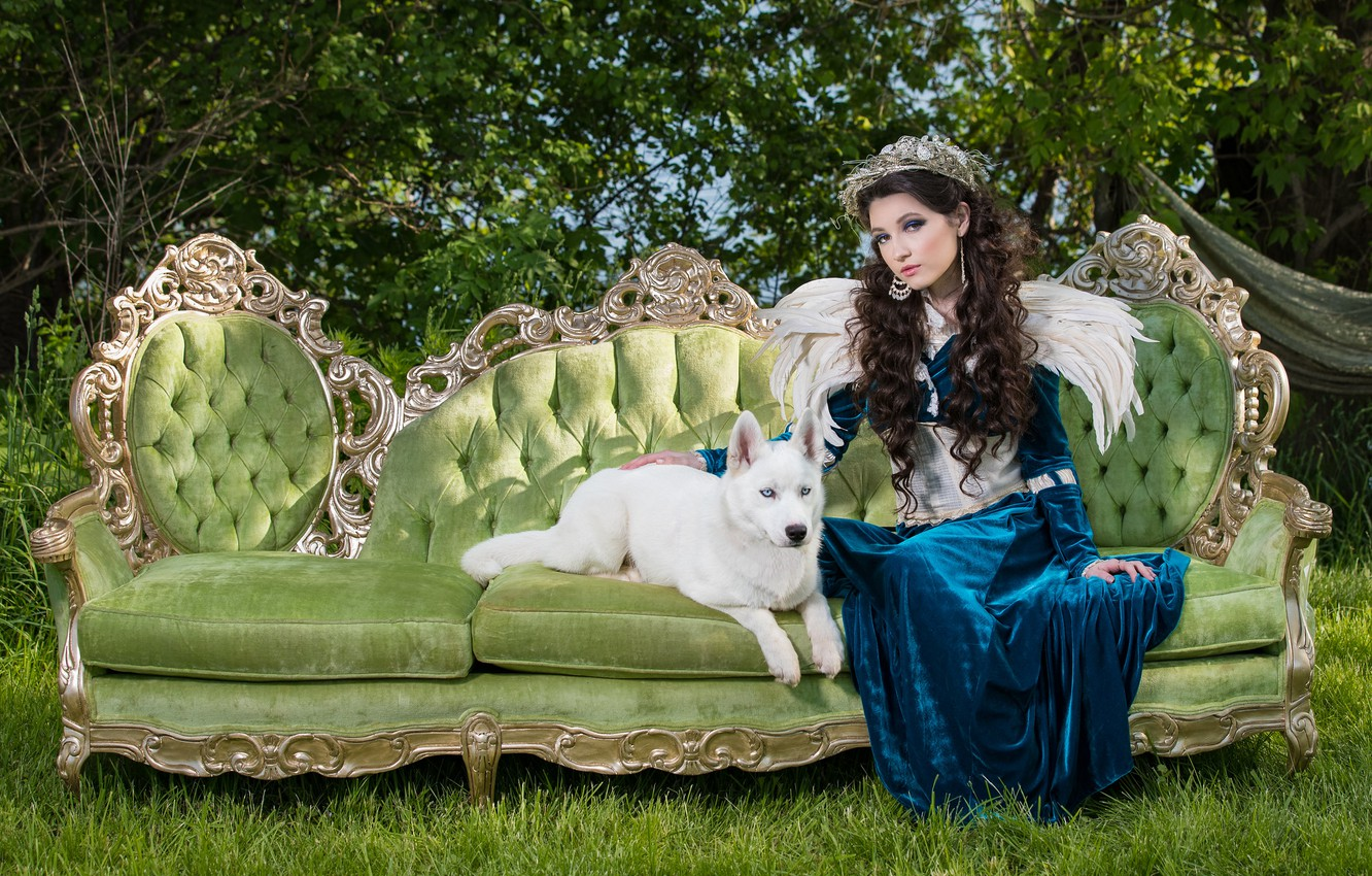 Photo wallpaper summer, grass, girl, nature, green, style, retro, sofa, wings, dog, feathers, dress, brunette, puppy, white, …