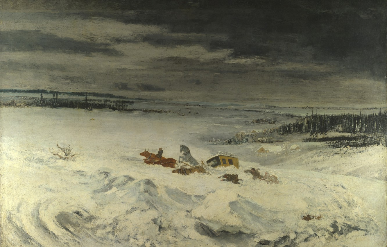 Photo wallpaper winter, landscape, picture, Gustave Courbet, Gustave Courbet, Stagecoach in the Snow