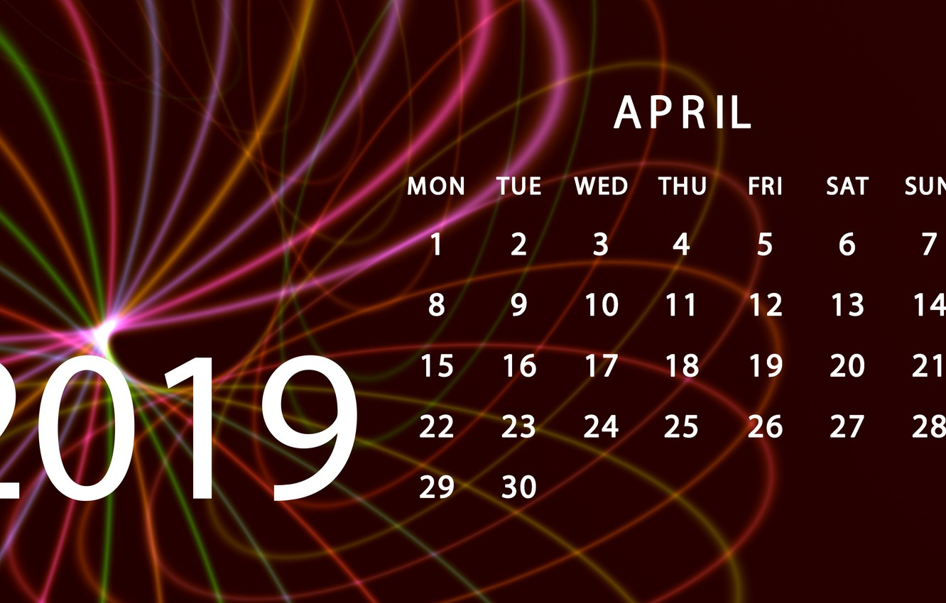 Photo wallpaper calendar, April, 2019