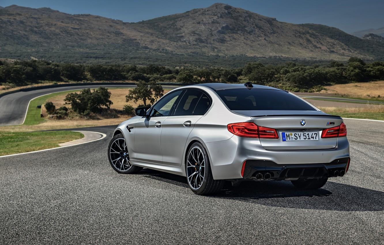 Photo wallpaper grey, BMW, silhouette, sedan, body, 4x4, 2018, four-door, M5, V8, F90, M5 Competition