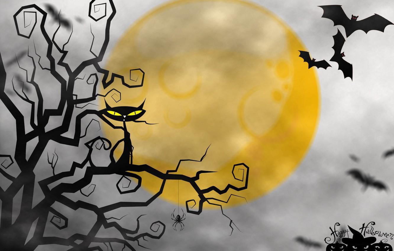 Photo wallpaper cat, the moon, Halloween, mouse, Happy Halloween