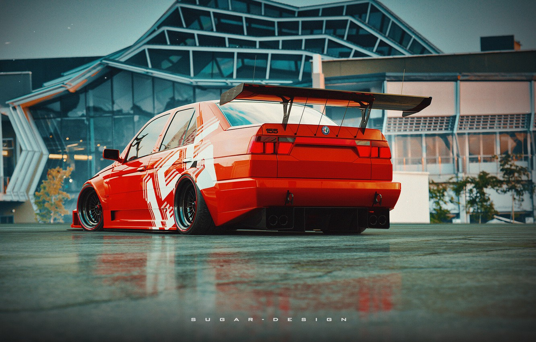 Photo wallpaper Red, Auto, Retro, Machine, Tuning, Alfa Romeo, Red, Car, Rendering, Transport & Vehicles, by Sugar …
