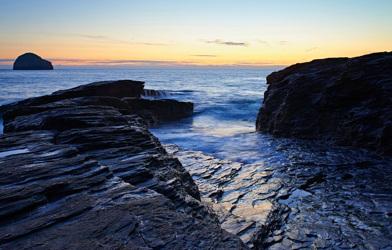 Photo wallpaper sea, the sky, sunset, blue, stones, rocks, coast, horizon