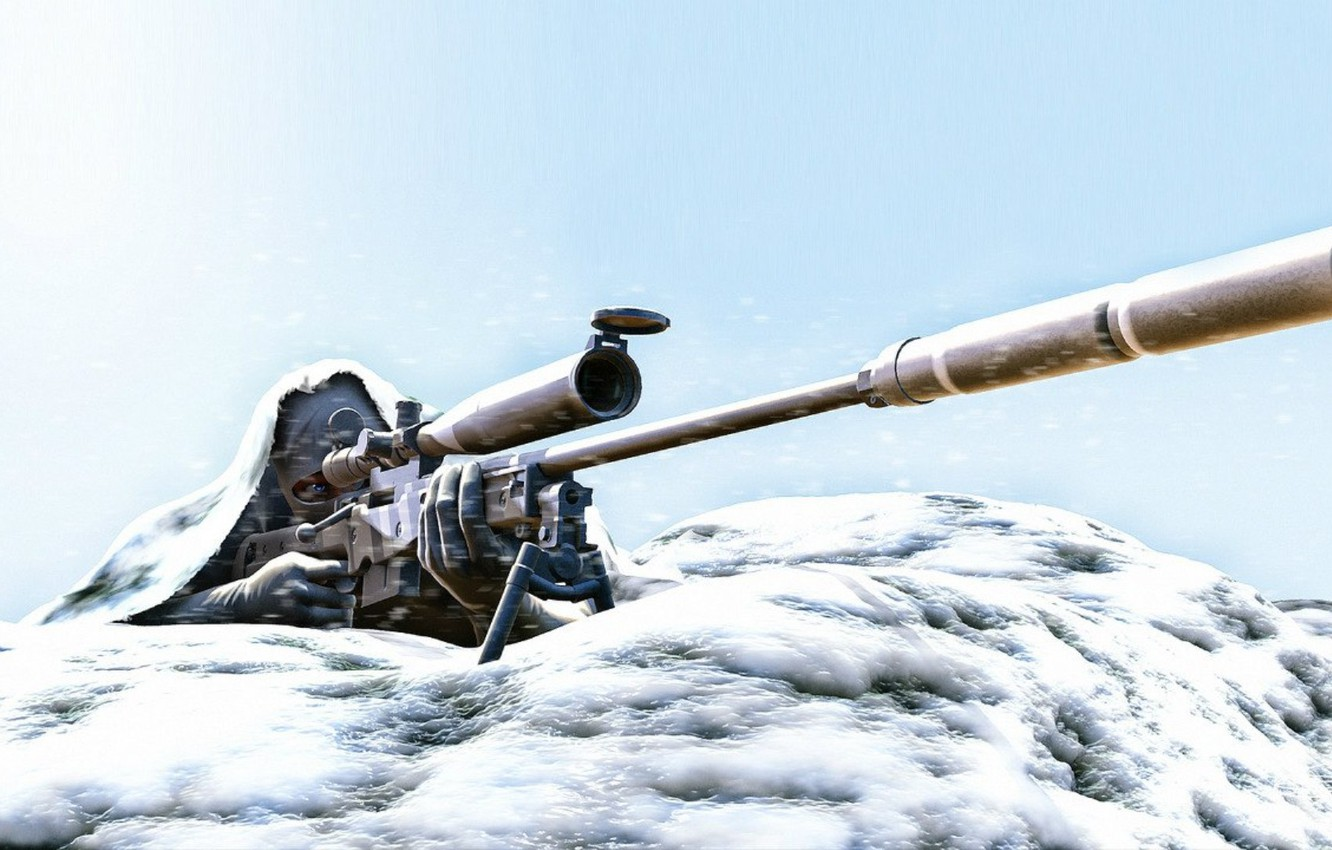 Photo wallpaper snow, art, sniper, rifle, in the winter