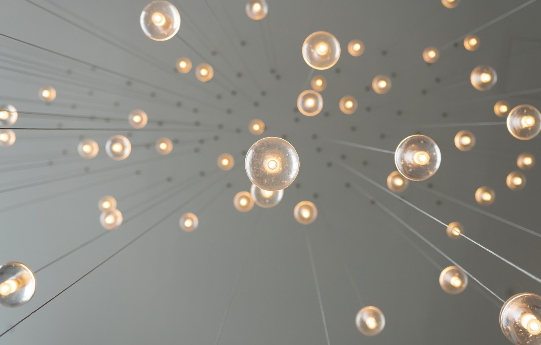 Photo wallpaper the ceiling, light bulb, hang