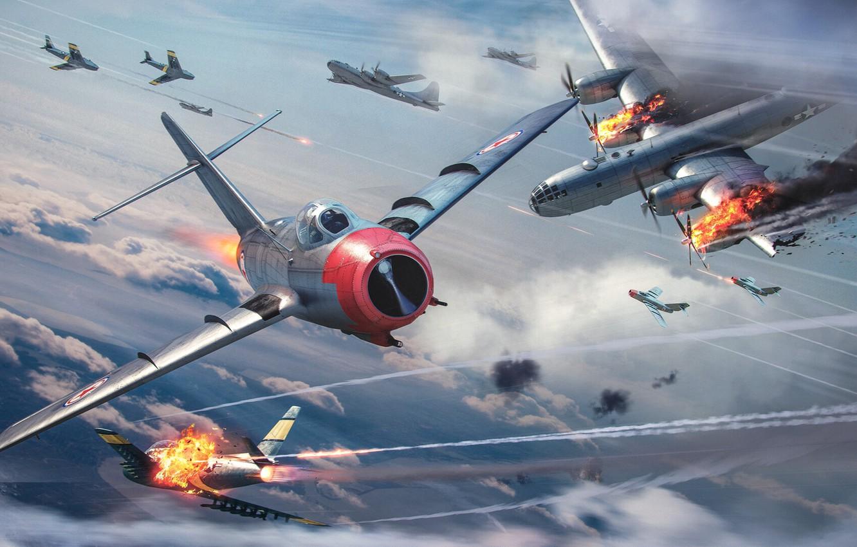 Photo wallpaper The sky, The plane, Fire, War, Fighter, USA, USA, Flame, Sky, Fire, Flame, Superfortress, Korea, …