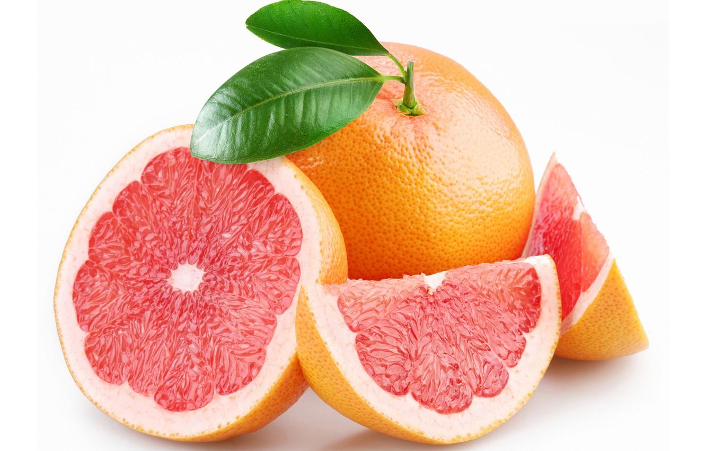 Photo wallpaper white background, grapefruit, slices