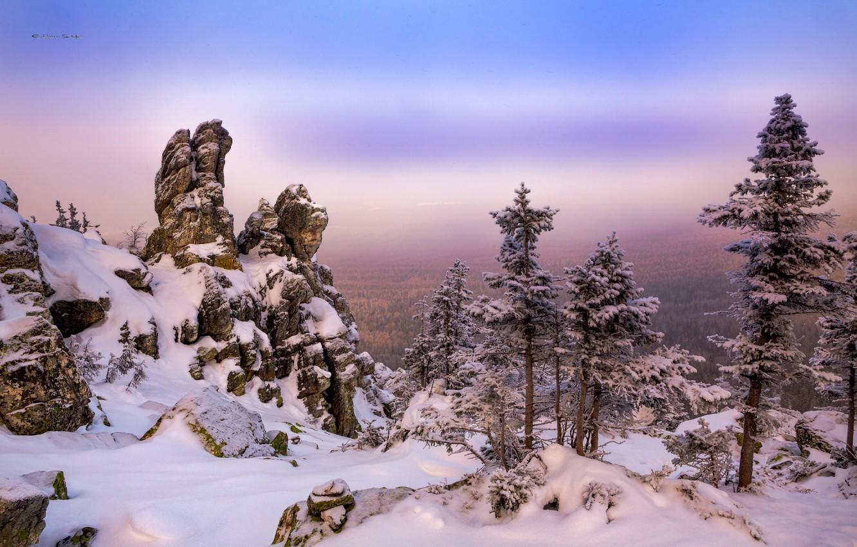 Photo wallpaper winter, snow, trees, landscape, mountains, nature, rocks, Ural, Taganay, Сергей Евдокимов