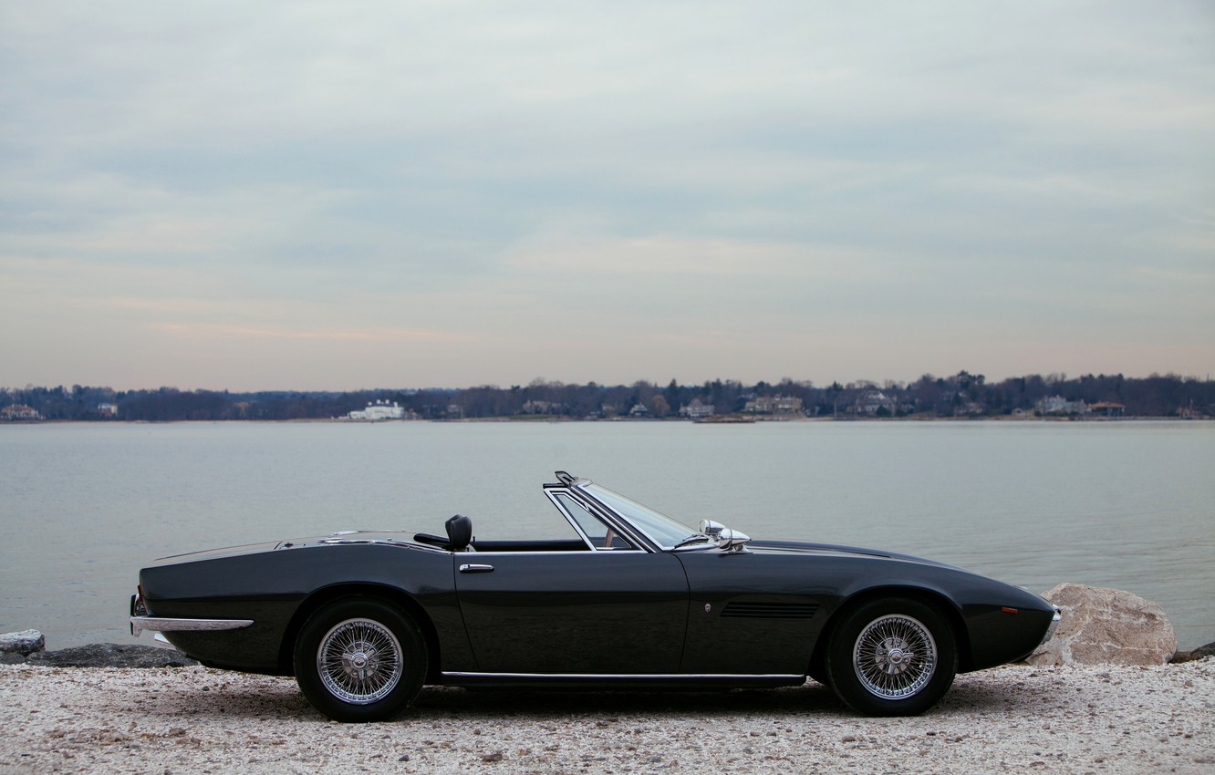 Photo wallpaper black, Maserati, 1969, Roadster, side view, spider, Ghibli Spider