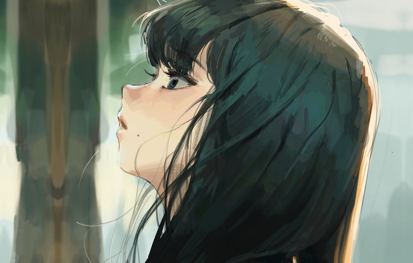 Photo wallpaper eyelashes, girl, mole, bangs, in profile, looking up, dark hair
