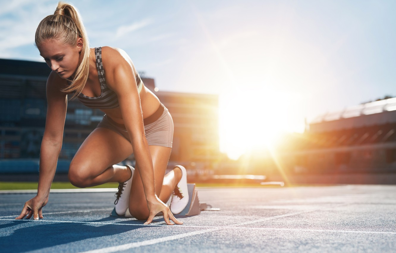 Photo wallpaper girl, the sun, pose, sport, shorts, Mike, figure, running, hairstyle, blonde, track, athlete, sneakers, pigtail, …