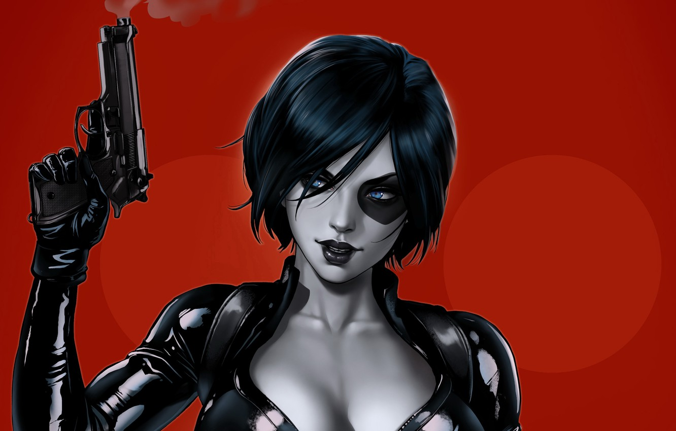 Photo wallpaper girl, gun, mutant, Marvel, Domino, Domino, mutant, by Dandonfuga