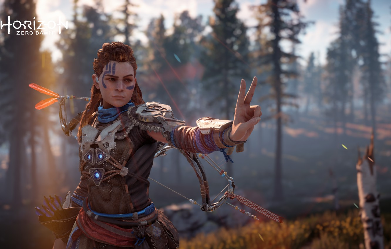 Photo wallpaper postapokalipsis, exclusive, Playstation 4, Guerrilla Games, the red-haired girl, Horizon Zero Dawn, Eloy