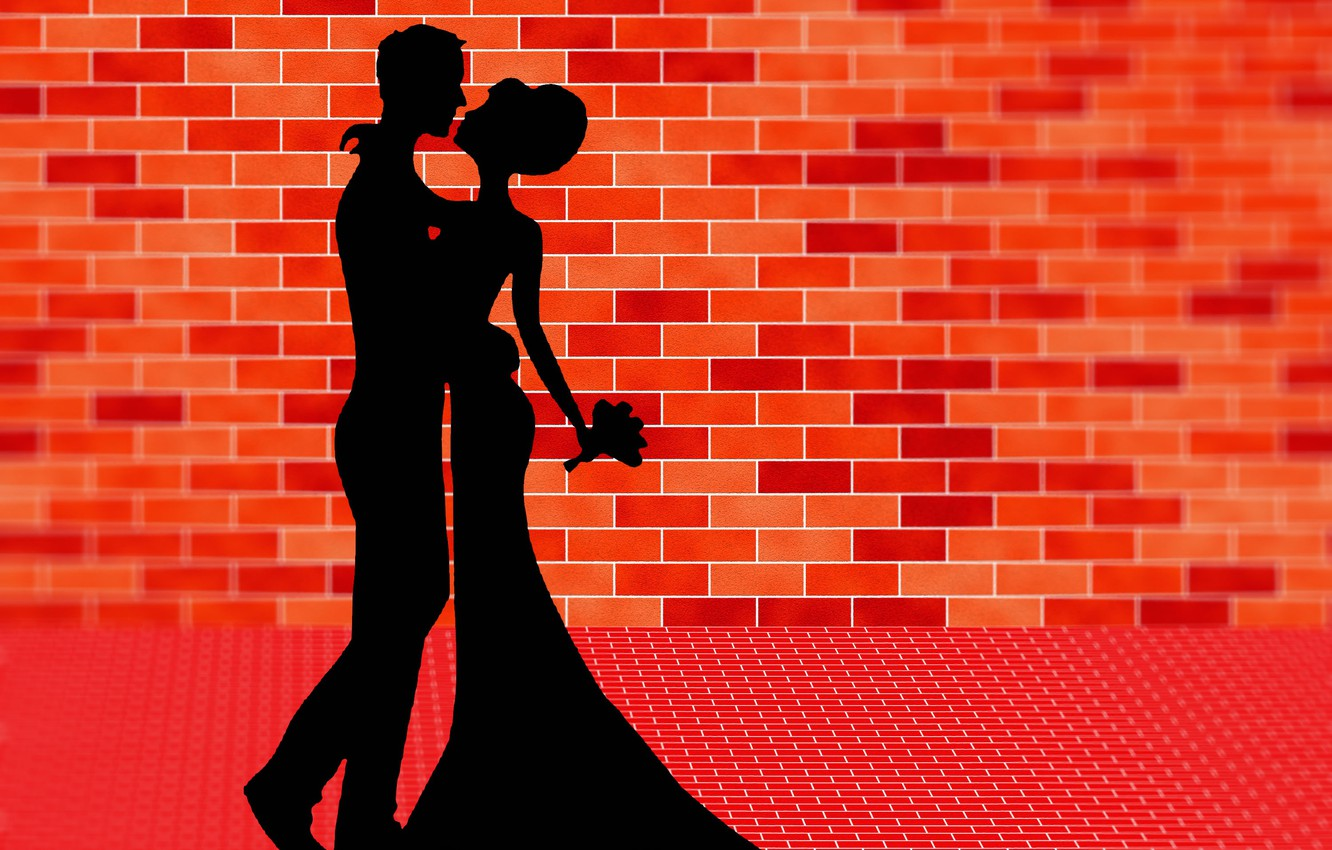Photo wallpaper dance, bouquet, lovers, silhouettes, brick wall, vector graphics