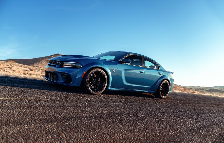 Photo wallpaper Road, Asphalt, Dodge, Drives, Charger, Hellcat, SRT, 2020, Dodge Charger SRT, Hellcat widebody