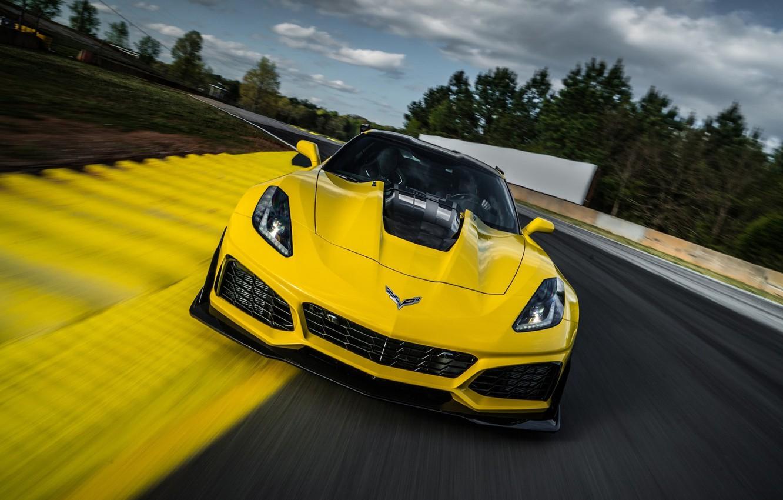 Photo wallpaper Corvette, Chevrolet, ZR1, Race, Yellow