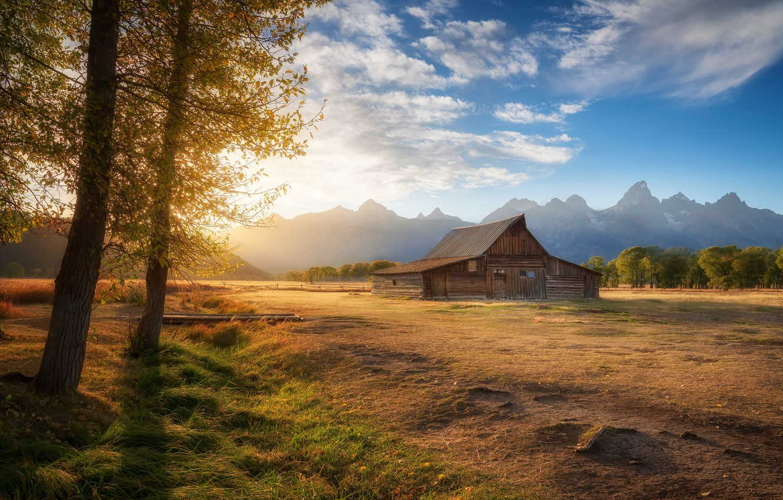 Photo wallpaper field, autumn, trees, house, house, Grand Teton, Grand Teton national Park