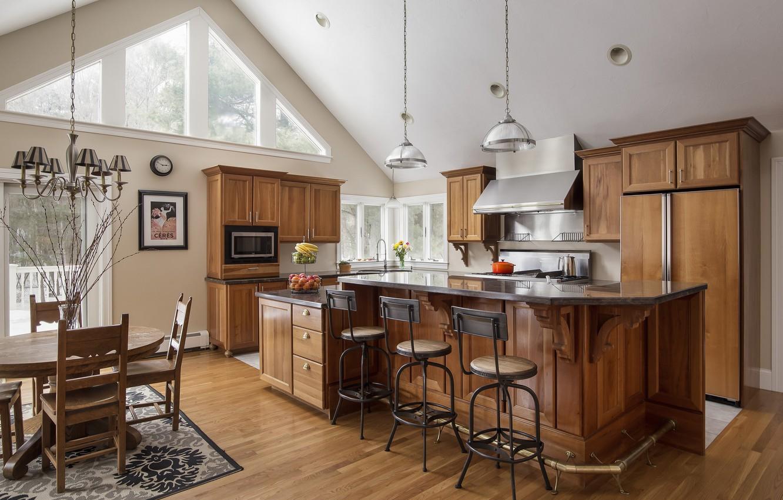 Photo wallpaper design, table, furniture, chairs, kitchen, chandelier
