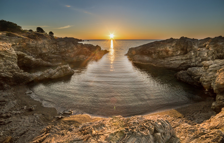 Photo wallpaper landscape, sunset, nature, coast, beauty
