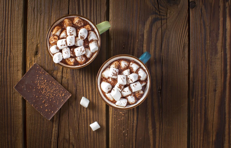 Photo wallpaper chocolate, mugs, marshmallows
