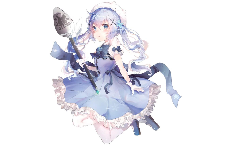 Photo wallpaper anime, girl, white background