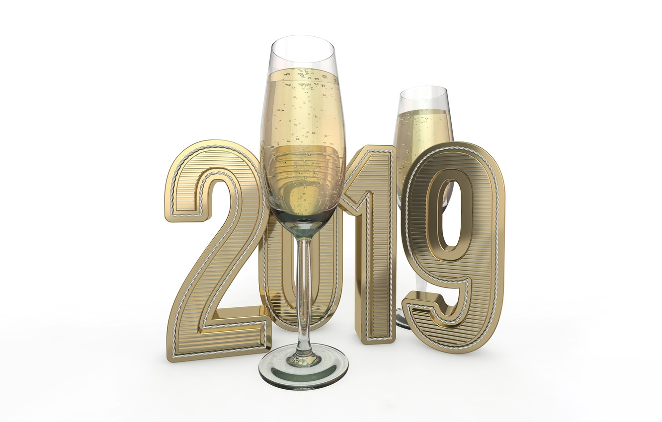 Photo wallpaper bubbles, holiday, glasses, Christmas, white background, New year, champagne, 3D Graphics, 2019