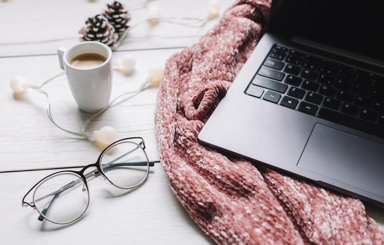 Photo wallpaper winter, scarf, glasses, laptop, winter, cup, coffee, glasses, laptop, a Cup of coffee