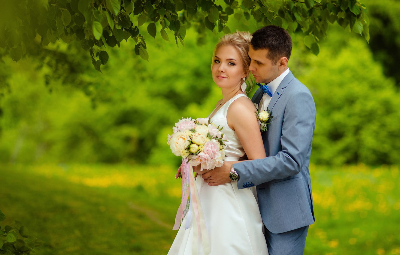 Photo wallpaper girl, bouquet, dress, male, lovers, the bride, wedding