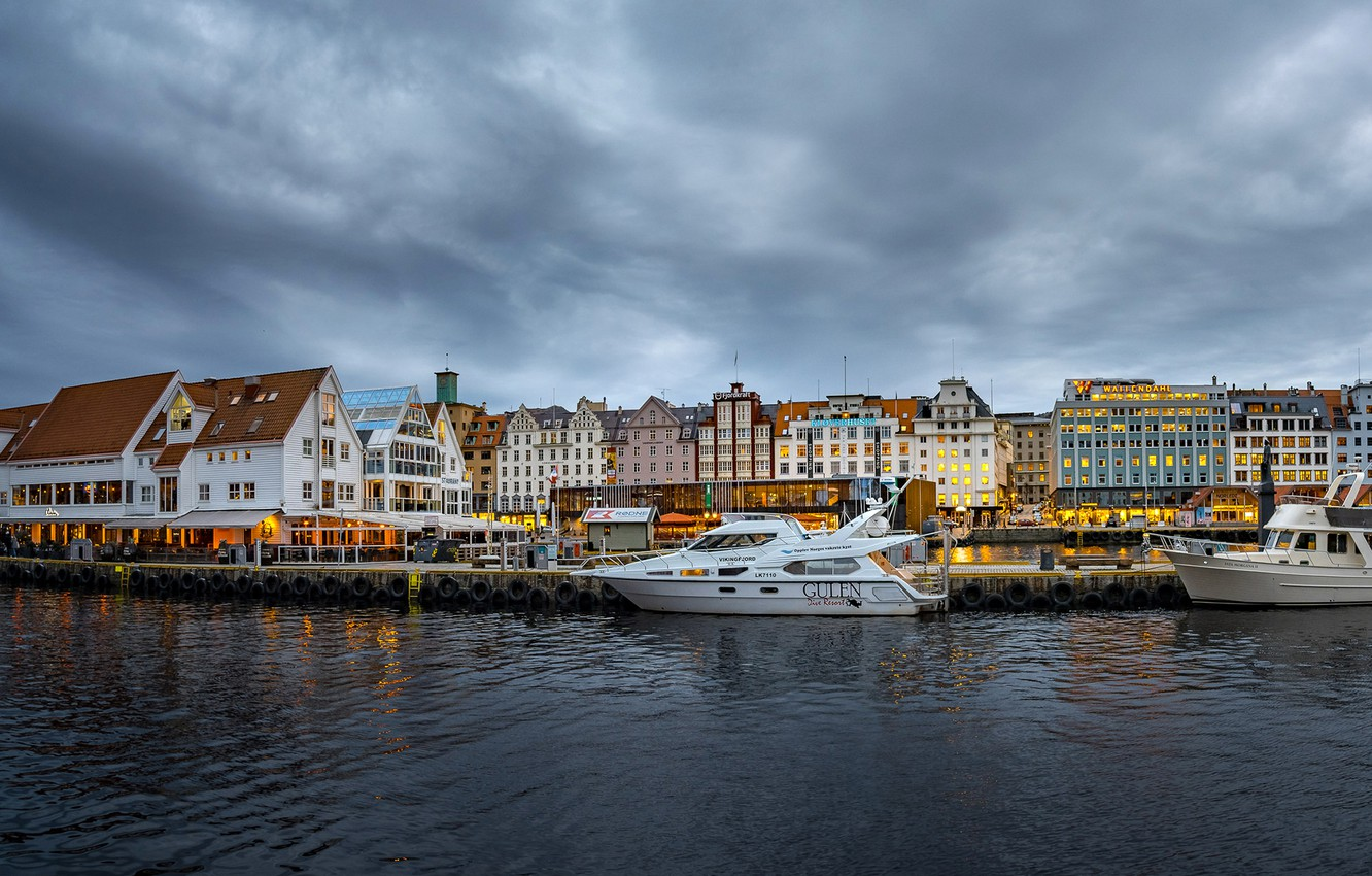 Photo wallpaper the sky, clouds, clouds, lights, river, home, yachts, the evening, Norway, piers, Bergen