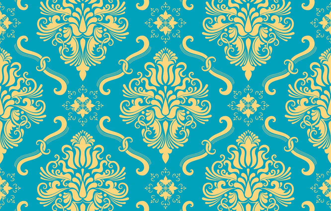 Photo wallpaper flowers, yellow, background, blue, ornament, style, vintage, ornament, seamless, victorian