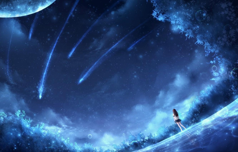 Photo wallpaper dreams, blue, glade, planet, meteorites, blue, planets, dreams, fantasy art, meteorites, glade, fabulous night, fantasy …
