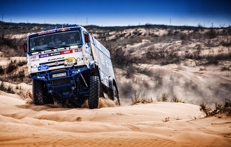 Photo wallpaper Sport, Machine, Truck, Master, Russia, Kamaz, Rally, KAMAZ-master, Rally, KAMAZ, The roads, RedBull, Master, 303, …