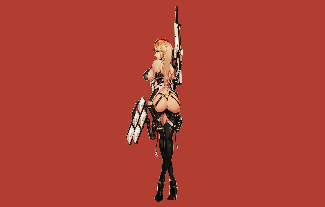 Photo wallpaper Girl, Gun, Sexy, Art, Minimalism, Characters, Ren Wei Pan, Assault dress, AA-90 SG