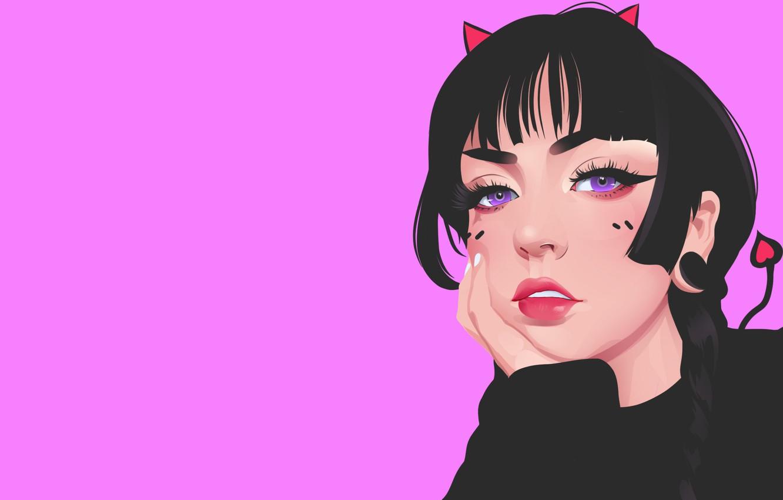 Wallpaper Girl Minimalism Lips Girl Eyes Background