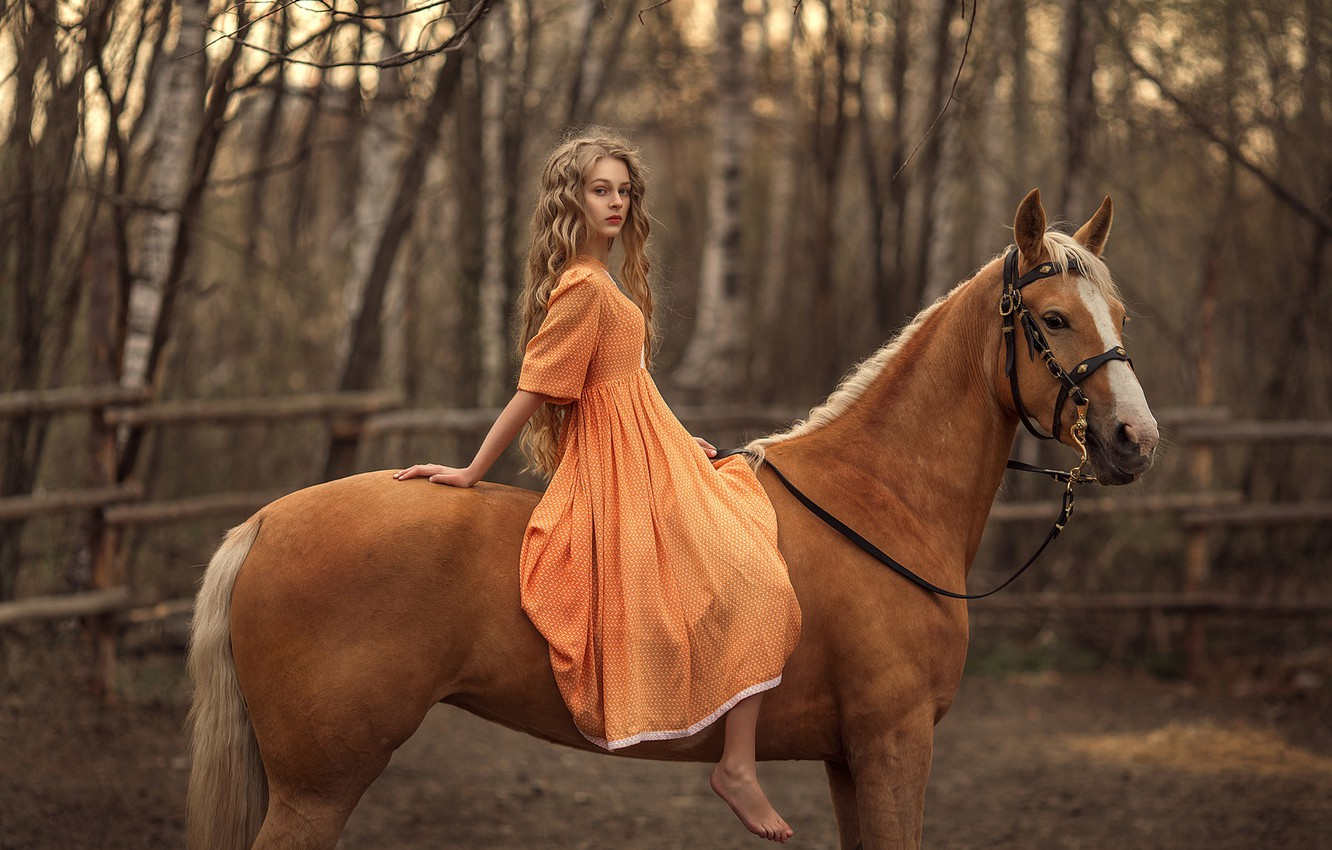 Photo wallpaper horse, horse, girl, sitting, long-haired, Rus