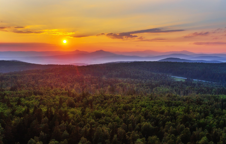 Photo wallpaper the sky, the sun, trees, nature, Mountains, the evening, Ural, Paul Sahaidak