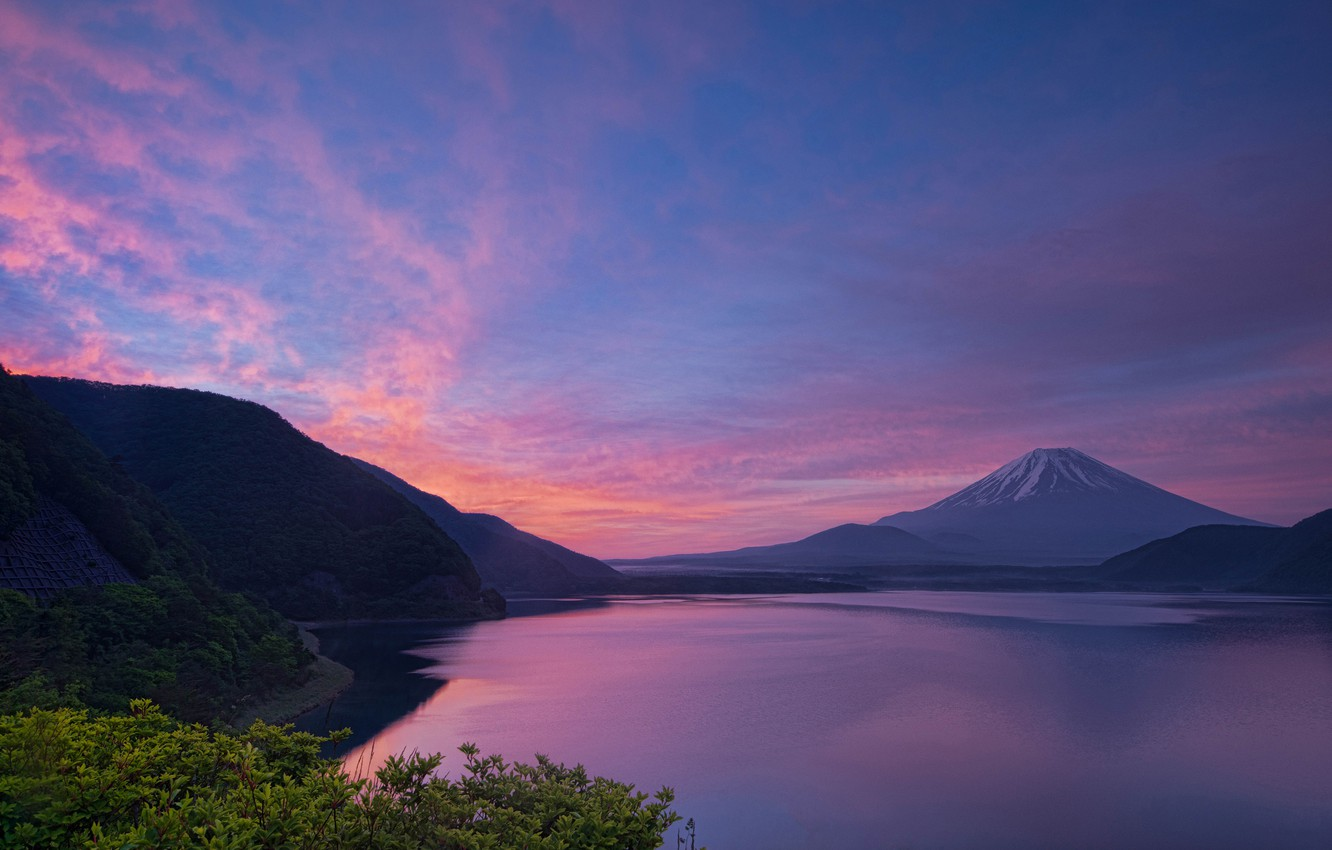 Photo wallpaper the sky, leaves, landscape, sunset, mountains, hills, mountain, the evening, the volcano, Japan, Fuji, forest, …