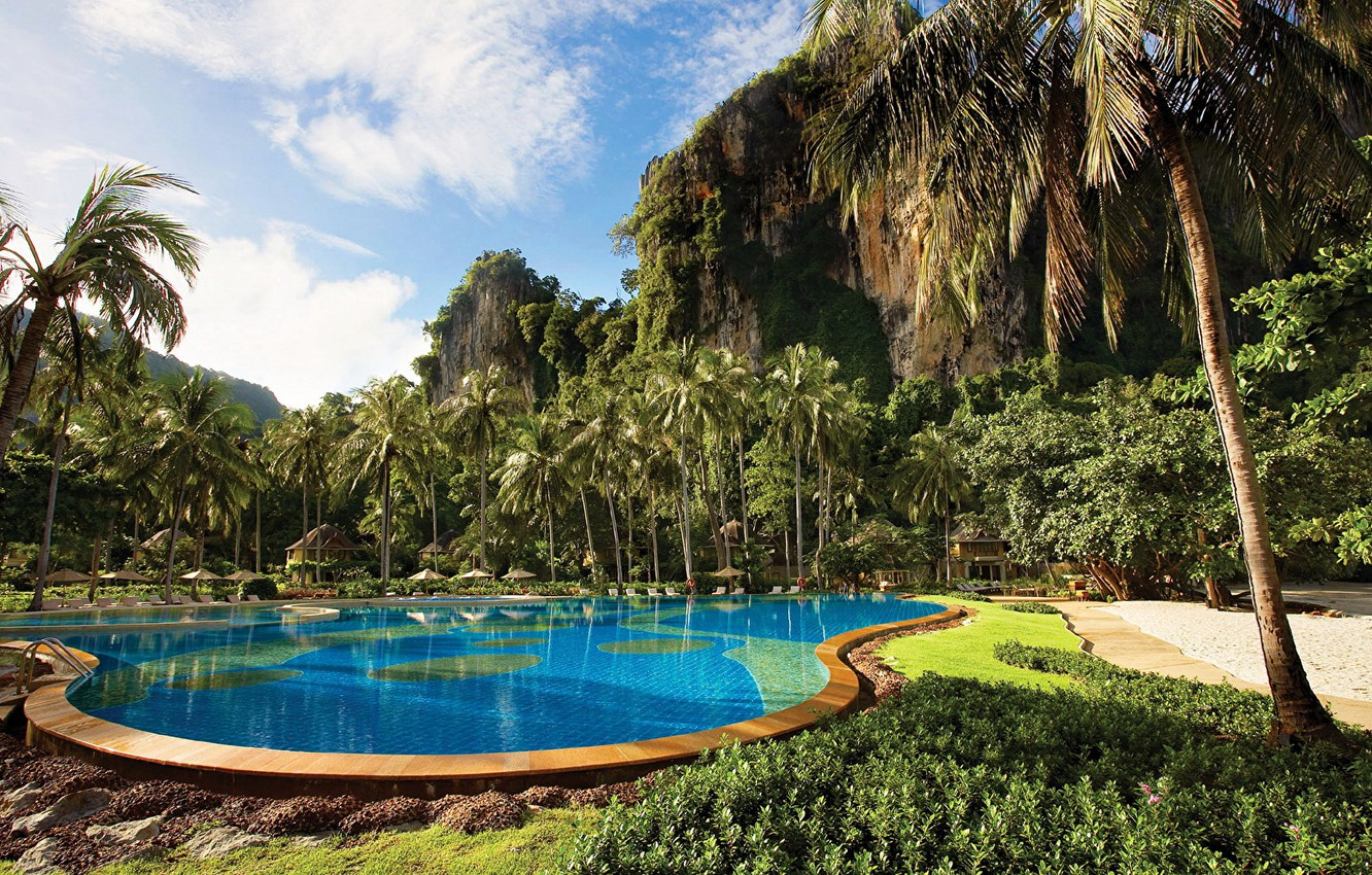 Photo wallpaper palm trees, rocks, pool, Thailand, Thailand, resort, Krabi