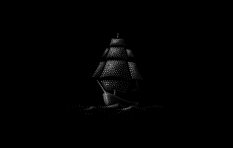 Photo wallpaper waves, minimalism, digital art, artwork, numbers, black background, letters, Ship, simple background, sailing ship