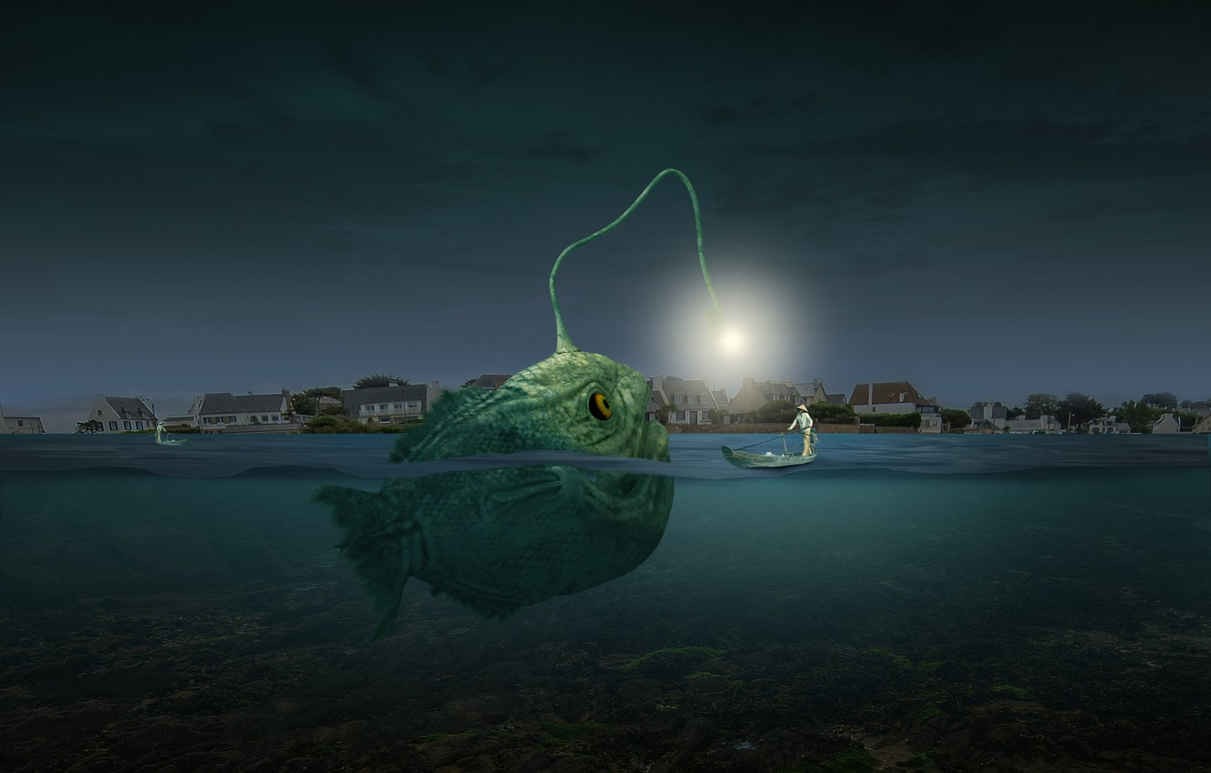Photo wallpaper photoshop, composite, angler fish