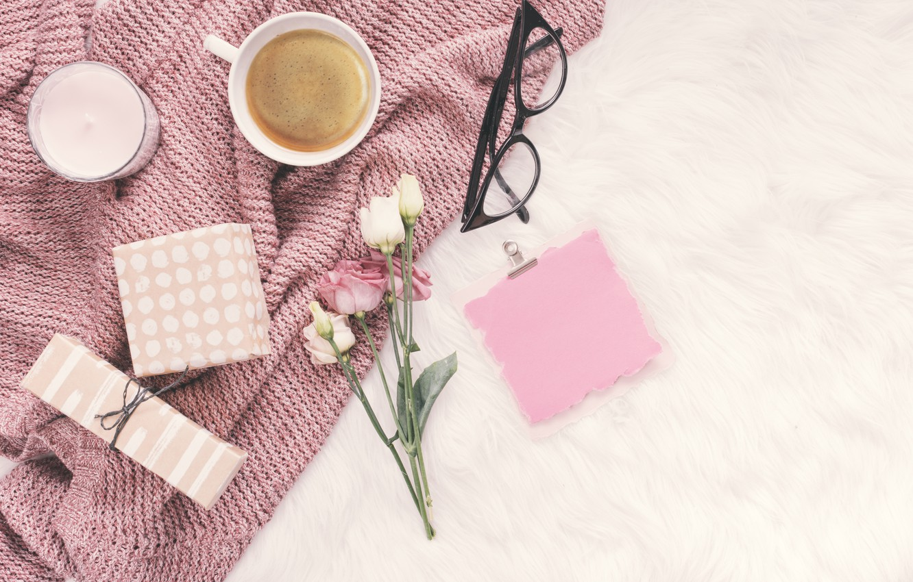 Photo wallpaper flowers, paper, coffee, glasses, gifts
