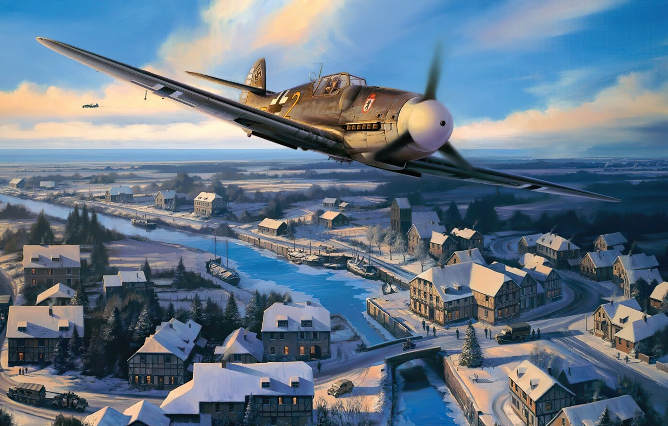 Photo wallpaper art, airplane, aviation, bf-109, ww2
