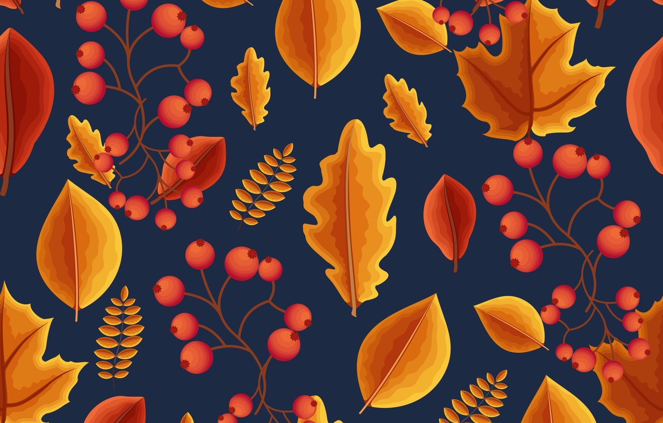 Photo wallpaper autumn, leaves, background, colorful, background, autumn, pattern, leaves, autumn, seamless