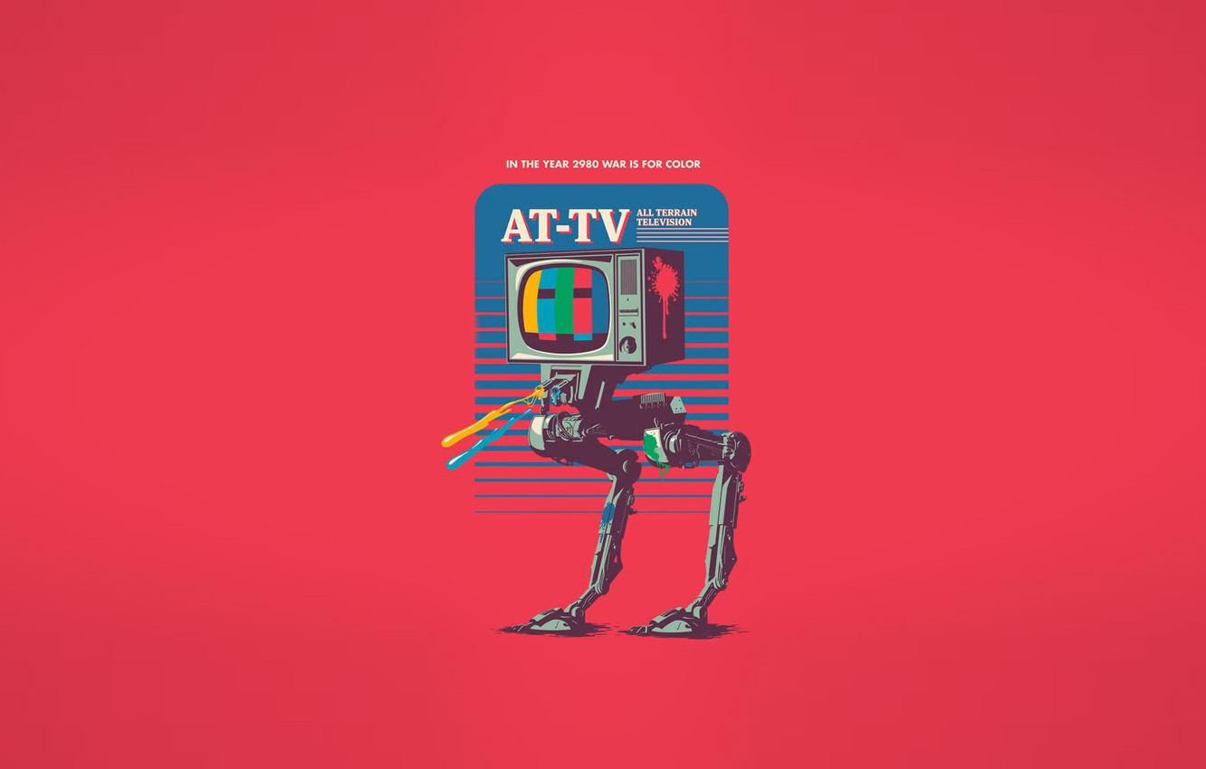 Photo wallpaper Minimalism, Robot, TV, Art, Robot, All Terrain television, AT-TV, In the year 2980 war is …