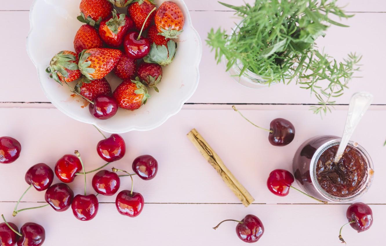 Photo wallpaper berries, strawberry, fresh, wood, cherry, ripe, cherry, strawberry, berries