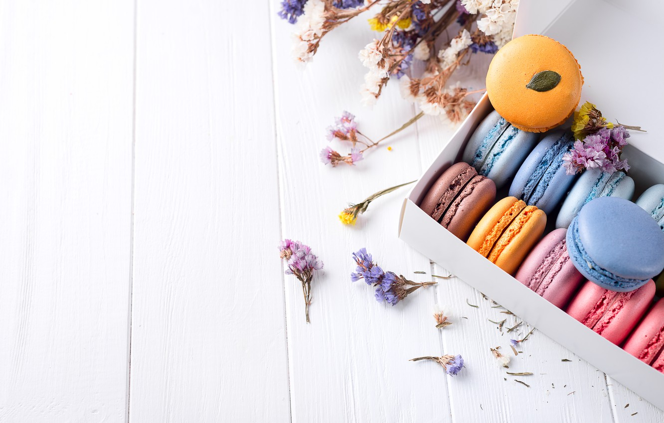 Photo wallpaper flowers, colorful, flowers, cakes, sweet, dessert, cookies, french, macaron, macaroon