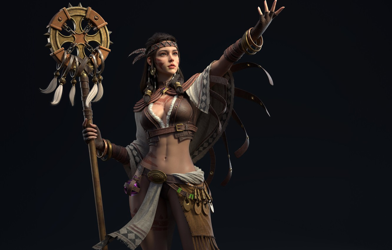 Photo wallpaper girl, rendering, background, figure, Indian