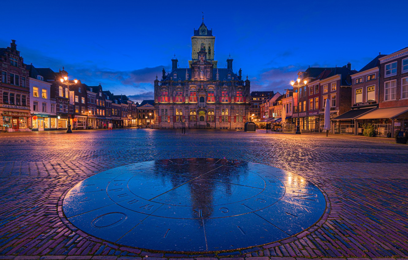 Photo wallpaper building, home, area, Netherlands, night city, town hall, Netherlands, Delft, Delft