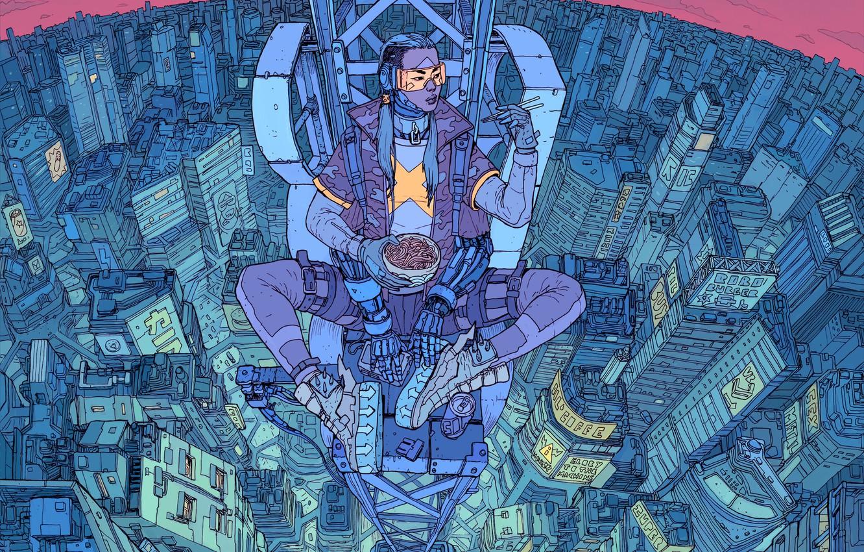 Photo wallpaper Girl, The city, Robot, Height, Fantasy, Art, Art, Food, Robot, Fiction, Cyborg, Sci-Fi, Cyberpunk, Cyberpunk, …